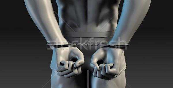 Ilustracja więzień 3d ilustracji kara budynku ściany Zdjęcia stock © kentoh