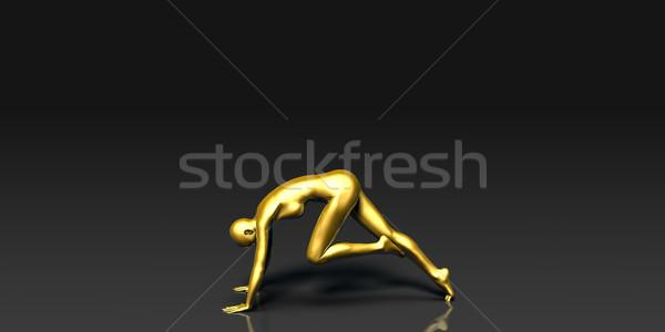 The Knee to Nose Yoga Pose Stock photo © kentoh
