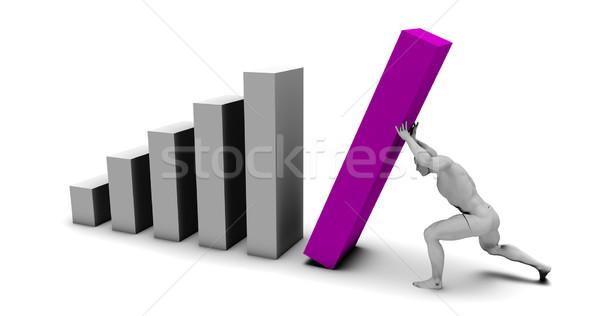 Man Pushing Up Bar Chart Block Stock photo © kentoh