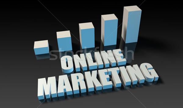 Сток-фото: Интернет · маркетинг · графа · диаграммы · 3D · синий · черный