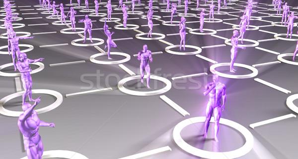 Online entertainment activiteiten 3D kunst menigte Stockfoto © kentoh