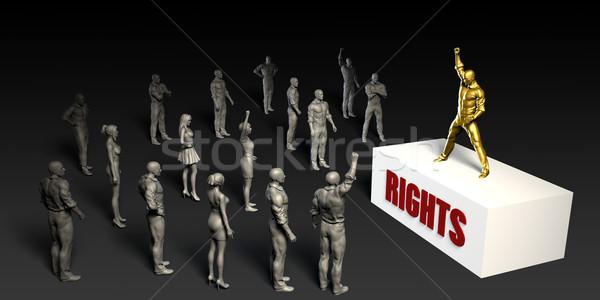戦う 女性 群衆 男性 黒 ストックフォト © kentoh