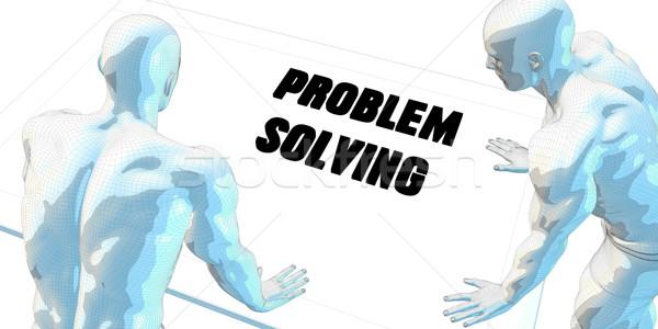 Problémamegoldás megbeszélés üzleti megbeszélés művészet férfiak digitális Stock fotó © kentoh