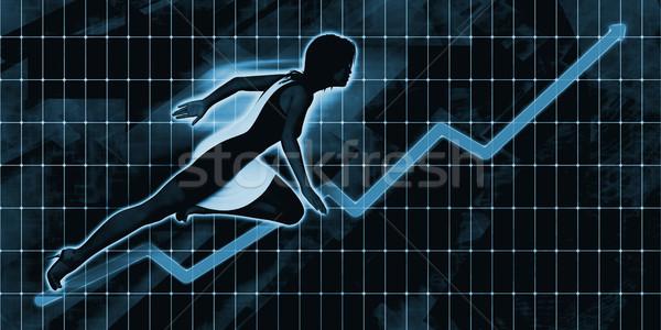 черный деловая женщина впереди синий искусства бизнеса Сток-фото © kentoh