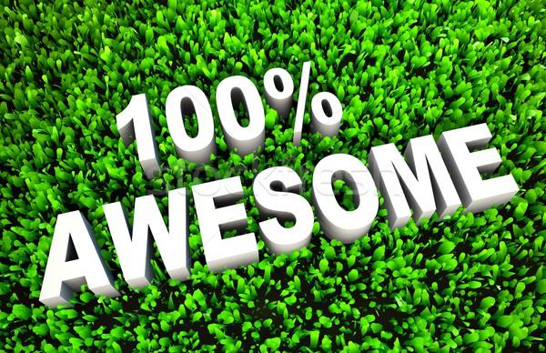 100 устрашающий знак оказанный трава 3D Сток-фото © kentoh
