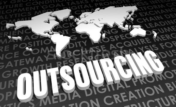 Outsourcing industrie globale standaard 3D kaart Stockfoto © kentoh