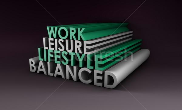 Kiegyensúlyozott életstílus absztrakt 3D egészség dolgozik Stock fotó © kentoh