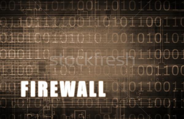 Firewall digital binario alerta resumen red Foto stock © kentoh