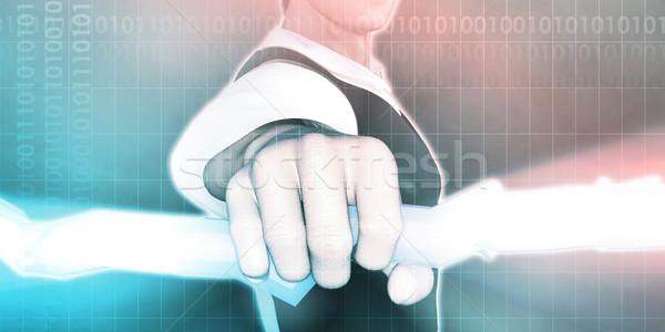 Kéz tart villám absztrakt háttér idő Stock fotó © kentoh
