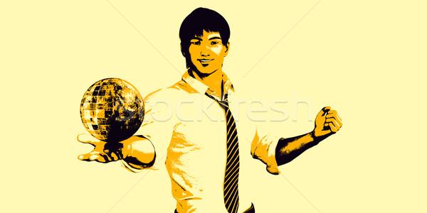 Globális kommunikáció férfi tart földgömb pálma kéz Stock fotó © kentoh