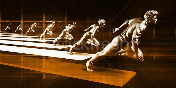 Ipar vezető üzletember vezető verseny férfi Stock fotó © kentoh
