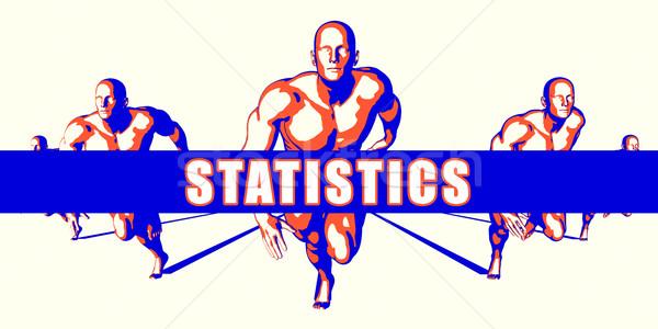 статистика конкуренция иллюстрация искусства фон оранжевый Сток-фото © kentoh