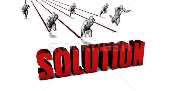 Jobb megoldás üzleti csapat versenyzés üzletember fut Stock fotó © kentoh