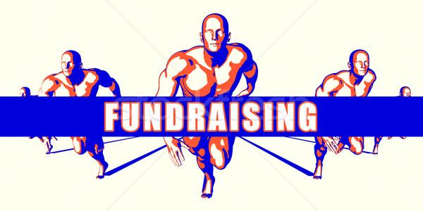 Fondsenwerving concurrentie illustratie kunst achtergrond oranje Stockfoto © kentoh