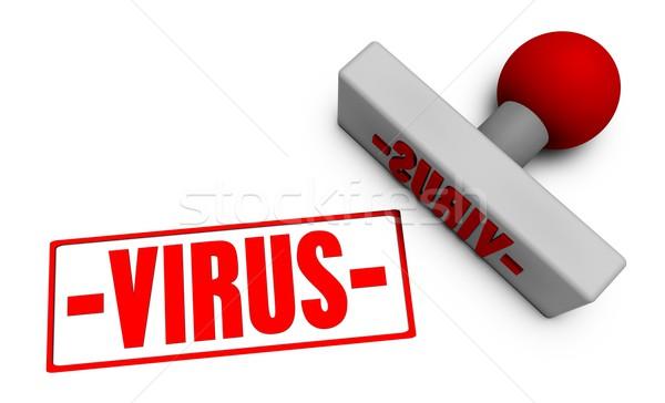 ストックフォト: ウイルス · スタンプ · 紙 · 3D · コンピュータ