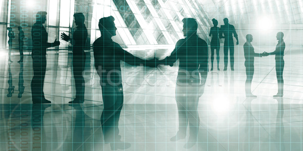 Uomini d'affari parlando corporate silhouette business costruzione Foto d'archivio © kentoh