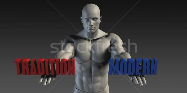 Moderne traditie keuze verschillend geloof Blauw Stockfoto © kentoh