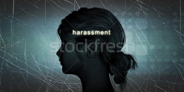 Kadın karşı rahatsızlık kişisel meydan okumak mavi Stok fotoğraf © kentoh