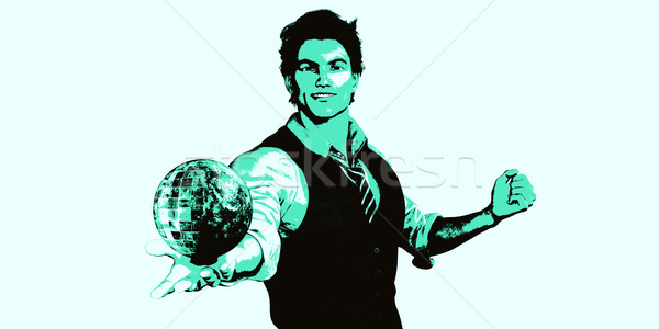 Stockfoto: Globale · technologie · man · wereldbol · business