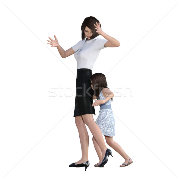 Mother Daughter Interaction of Girl Pushing Mom Stock photo © kentoh