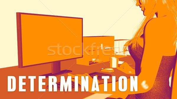 Determinazione donna guardando computer business istruzione Foto d'archivio © kentoh