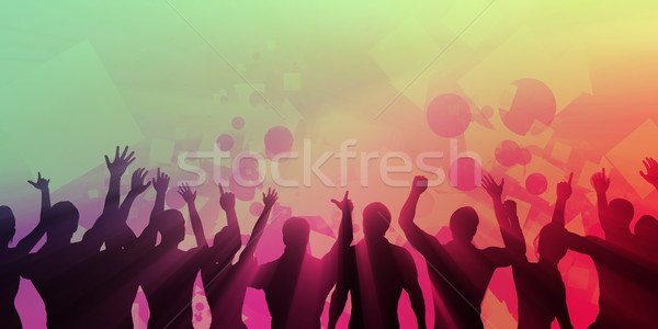Stok fotoğraf: Gençler · dans · siluet · renkli · dans · soyut