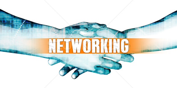Redes empresarios apretón de manos blanco manos fondo Foto stock © kentoh