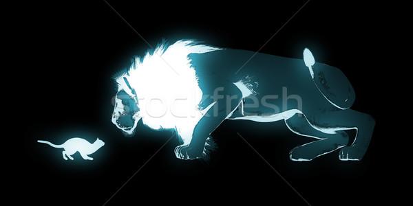 Macska oroszlán művészet munka absztrakt háttér Stock fotó © kentoh