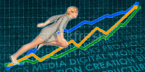 Businesswoman Charging Ahead on Blue Background Stock photo © kentoh
