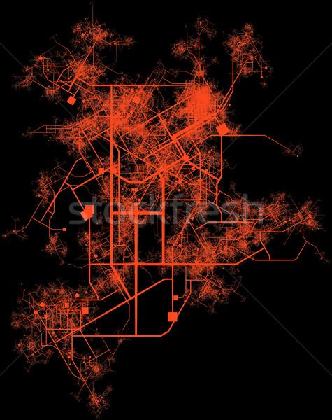 Stad infrastructuur planning wegen gebouwen weg Stockfoto © kentoh
