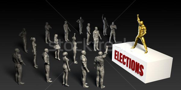 Verkiezingen strijd vrouwen menigte mannen zwarte Stockfoto © kentoh