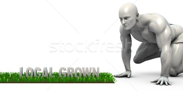Locale augmenté homme regarder alimentaire légumes Photo stock © kentoh