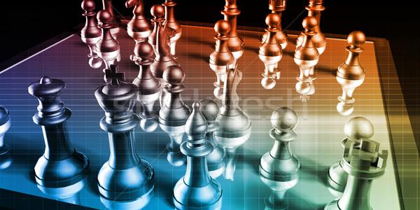 Strategia biznesowa szachownica działalności tle myślenia firmy Zdjęcia stock © kentoh