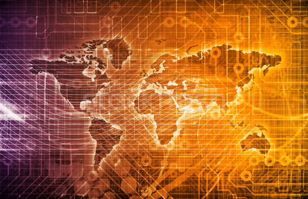 グローバル デジタル技術 テクスチャ 電話 壁 抽象的な ストックフォト © kentoh