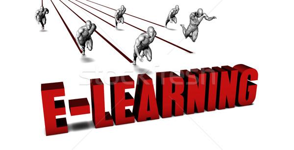 Jobb online oktatás üzleti csapat versenyzés üzletember fut Stock fotó © kentoh