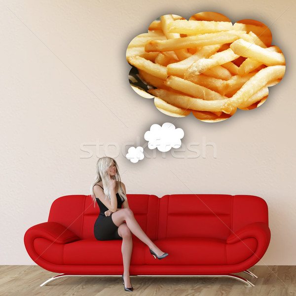 Woman Craving French Fries Stock photo © kentoh