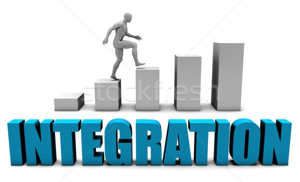 Integratie 3D Blauw staafdiagram grafiek onderwijs Stockfoto © kentoh