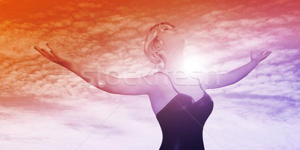 Megvilágosodás nő tart karok ki boldogan Stock fotó © kentoh