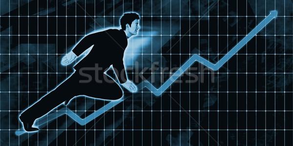 китайский бизнесмен впереди синий искусства бизнеса Сток-фото © kentoh