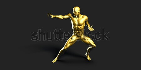 Spor uygunluk sağlık arka plan siyah altın Stok fotoğraf © kentoh