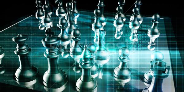 Estratégia de negócios tabuleiro de xadrez negócio fundo pensando companhia Foto stock © kentoh