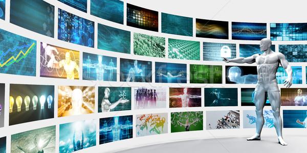 Videofal fehér férfi férfi fal monitor videó Stock fotó © kentoh