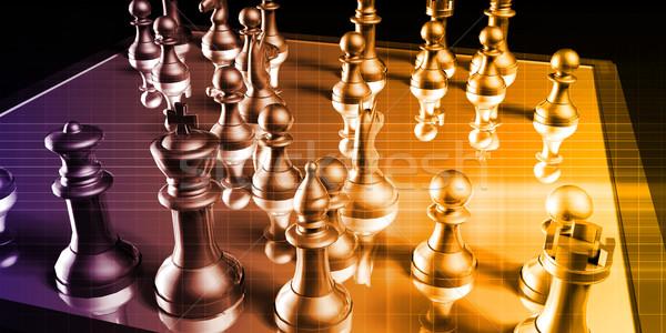 İş stratejisi satranç tahtası iş arka plan düşünme şirket Stok fotoğraf © kentoh