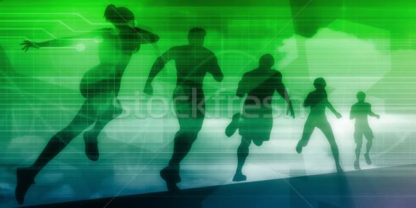 Egzersiz teknoloji çalışma jogging vücut uygunluk Stok fotoğraf © kentoh