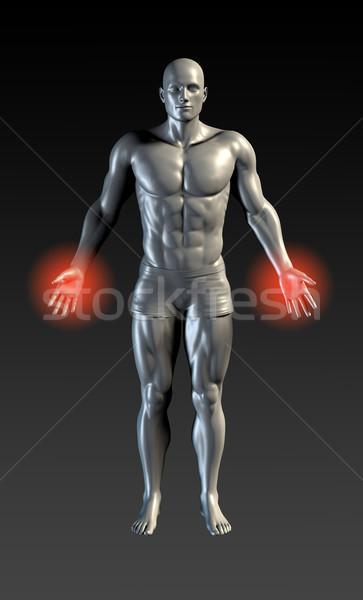 Kéz sérülés piros izzik kezek egészség Stock fotó © kentoh