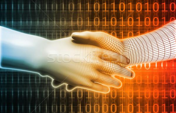 Technologie evolutie wetenschap digitale leeftijd handen Stockfoto © kentoh