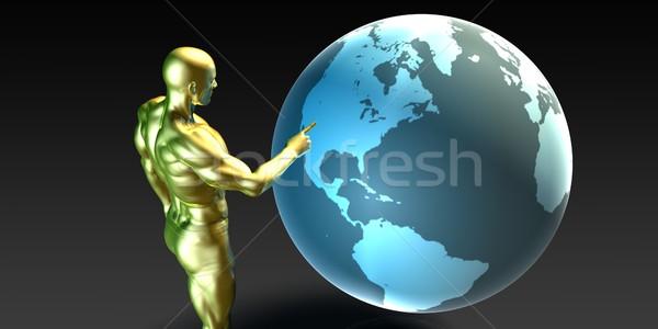 Businessman Pointing at North America  Stock photo © kentoh