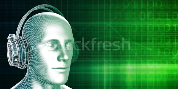 Zenét hallgat szabadidős tevékenység zene technológia háttér hangszóró Stock fotó © kentoh