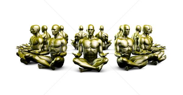 Illustration of a Male Figure Meditating Stock photo © kentoh