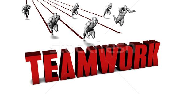 Jobb csapatmunka üzleti csapat versenyzés üzletember fut Stock fotó © kentoh
